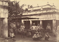 Some of King Theebaw's Guards at the East Gate of the Palace enclosure, [Mandalay], the day we entered